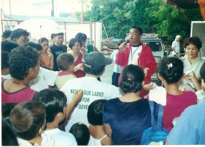 As a community organizer in Metro Manila.  His advocacies centered on women and children's rights.