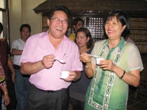 TRC Director General Tony Ortiz and MMSU President Miriam Pascua enjoy malunggay ice cream