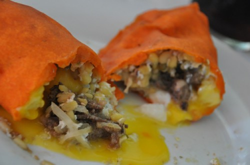 OOZING. Possible only with the Batac empanada, some prefer it this way.