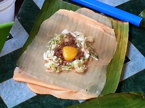 Vigan: Cabbage, egg yolk, and ground pork